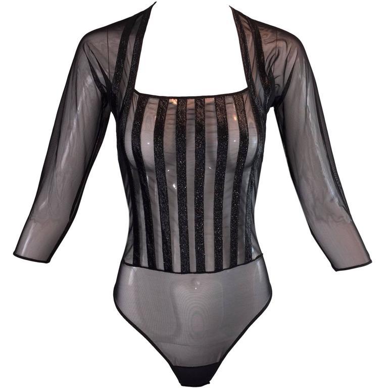 S/S 1997 Gianfranco Ferre Sheer Black Mesh Pin-up Bodysuit Top 42 S