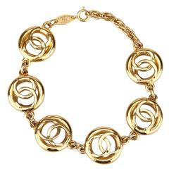 "Chanel Gold Toned ""CC"" Chain Bracelet"