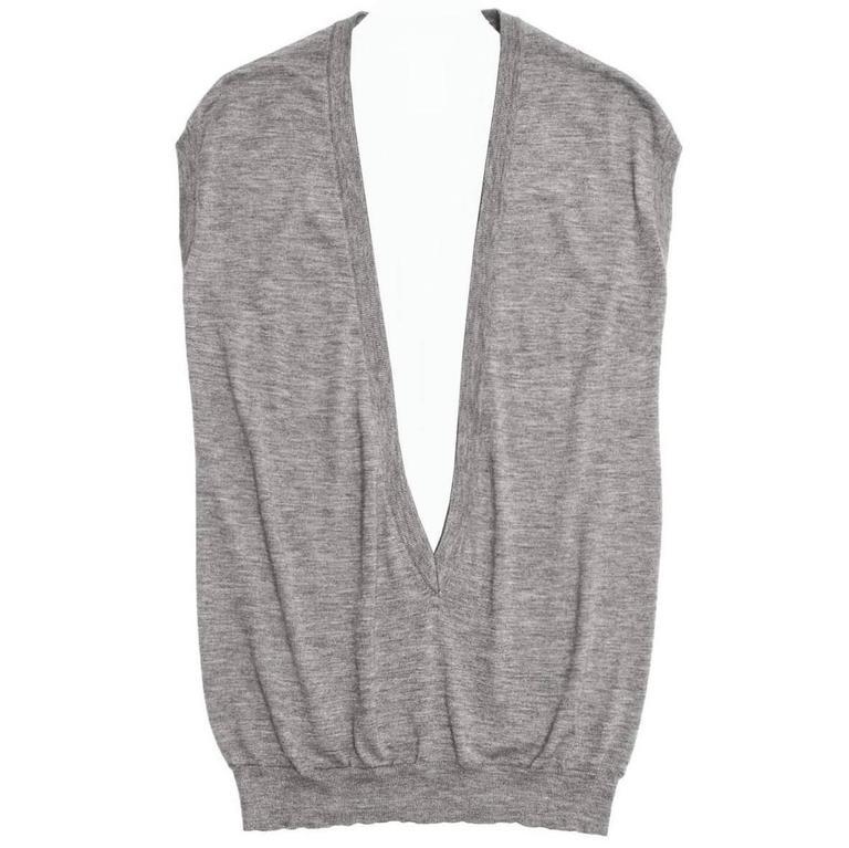 Celine Grey Cashmere Deep V-Neck Vest
