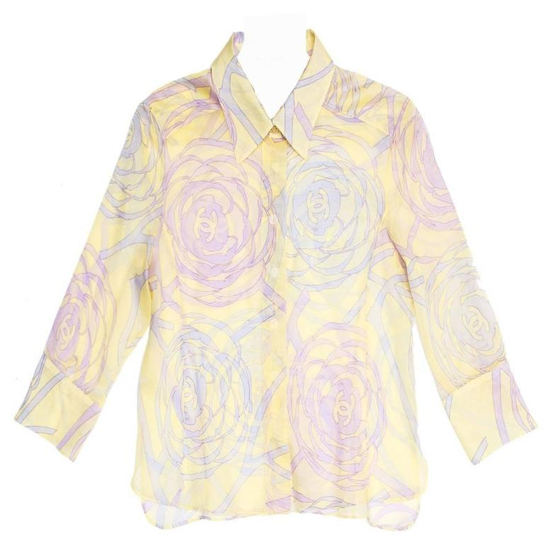 Chanel Multicolor Sheer Cotton Shirt For Sale