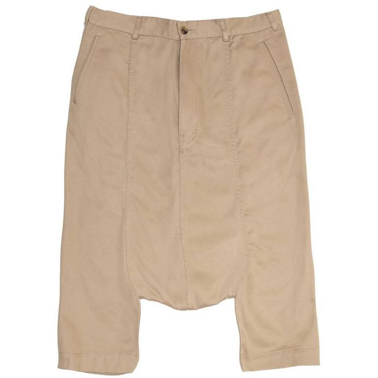 Comme des Garçons Khaki Cotton Dropped Crotch Pants For Sale