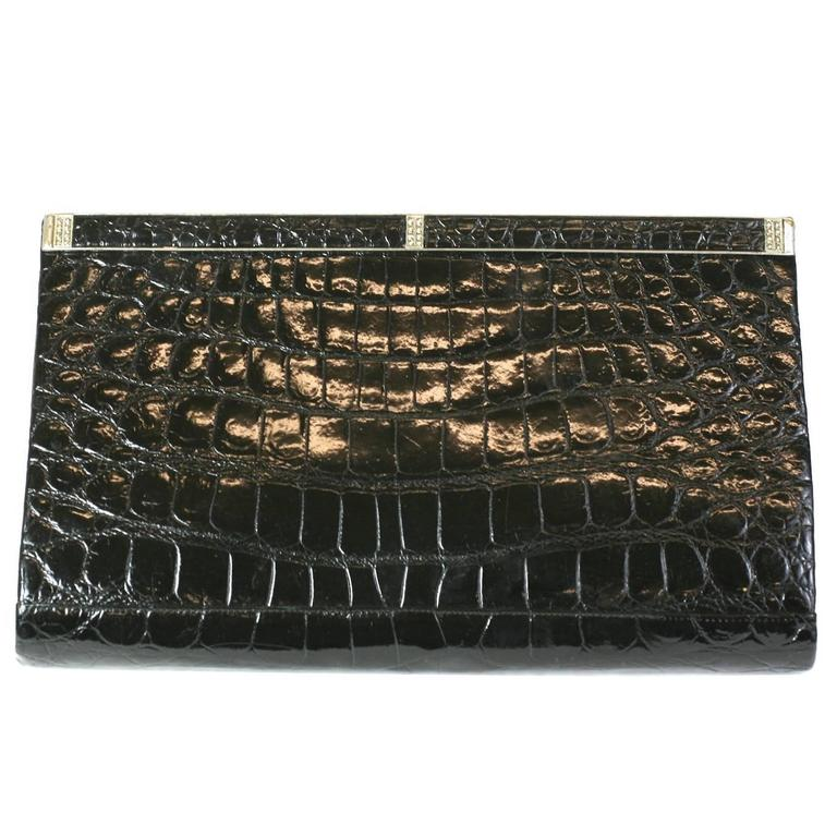 Manon Black Alligator Clutch