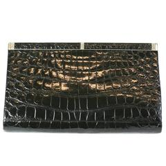 Manon Black Alligator Clutch
