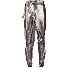 Thimister Couture Draped Metallic Silver Wrap Harem Pants