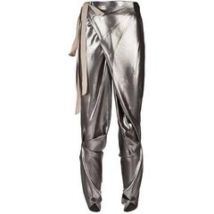 Thimister Couture Draped Metallic Silver Wrap Harem Pants