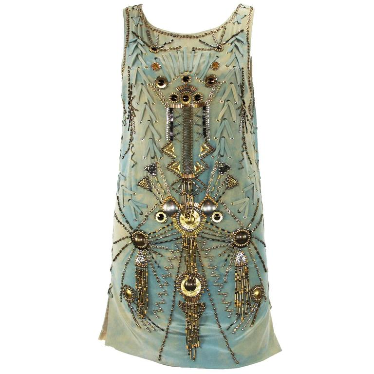 New Versace Sexy Fully Studded Beaded Watercolor Mini Silk Dress It.38 For Sale