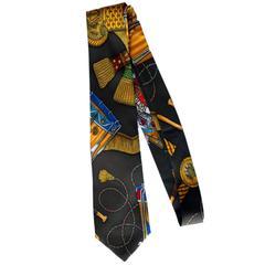 """Hermes """"Drum and Rope Tassel"""" Silk Tie"""