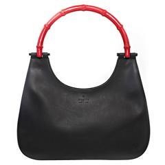 Gucci Matte Black Hobo Style Handbag with Bamboo Handle