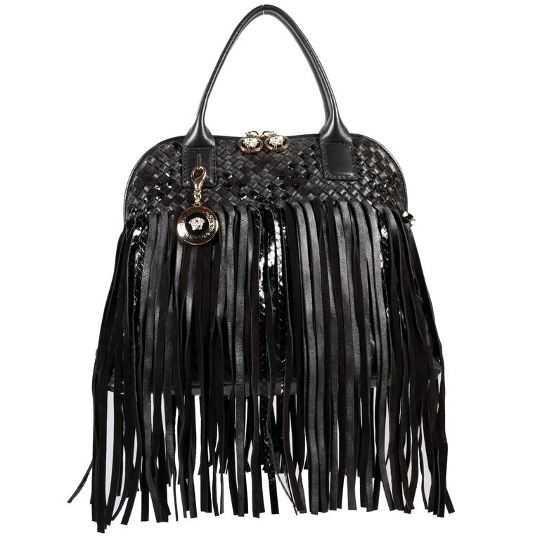 0bb1635945 Versace Large Black Fringed Vanitas Handbag Shoulder Bag For Sale at 1stdibs
