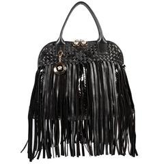 Versace Large Black Fringed Vanitas Handbag Shoulder Bag