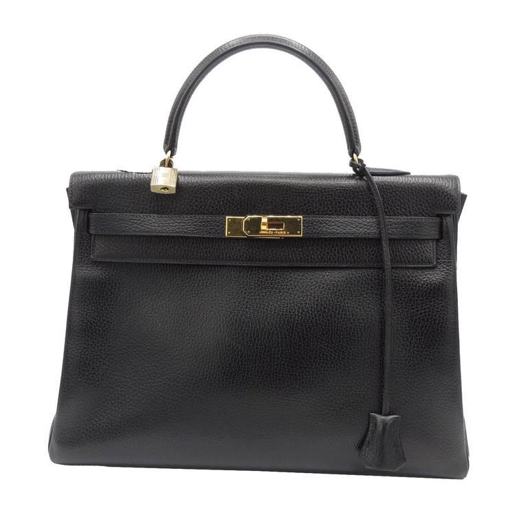 Hermes Vintage Kelly Bag Ardennes Black Leather Gold Hardware 35 ...