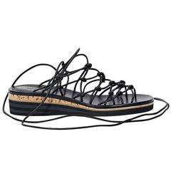 Black Chloé Leather Wrap Sandals