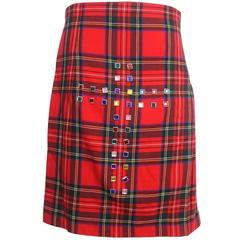 Comme des Garcons Wrap Around Jewel Cross Kilt with Pleated Back