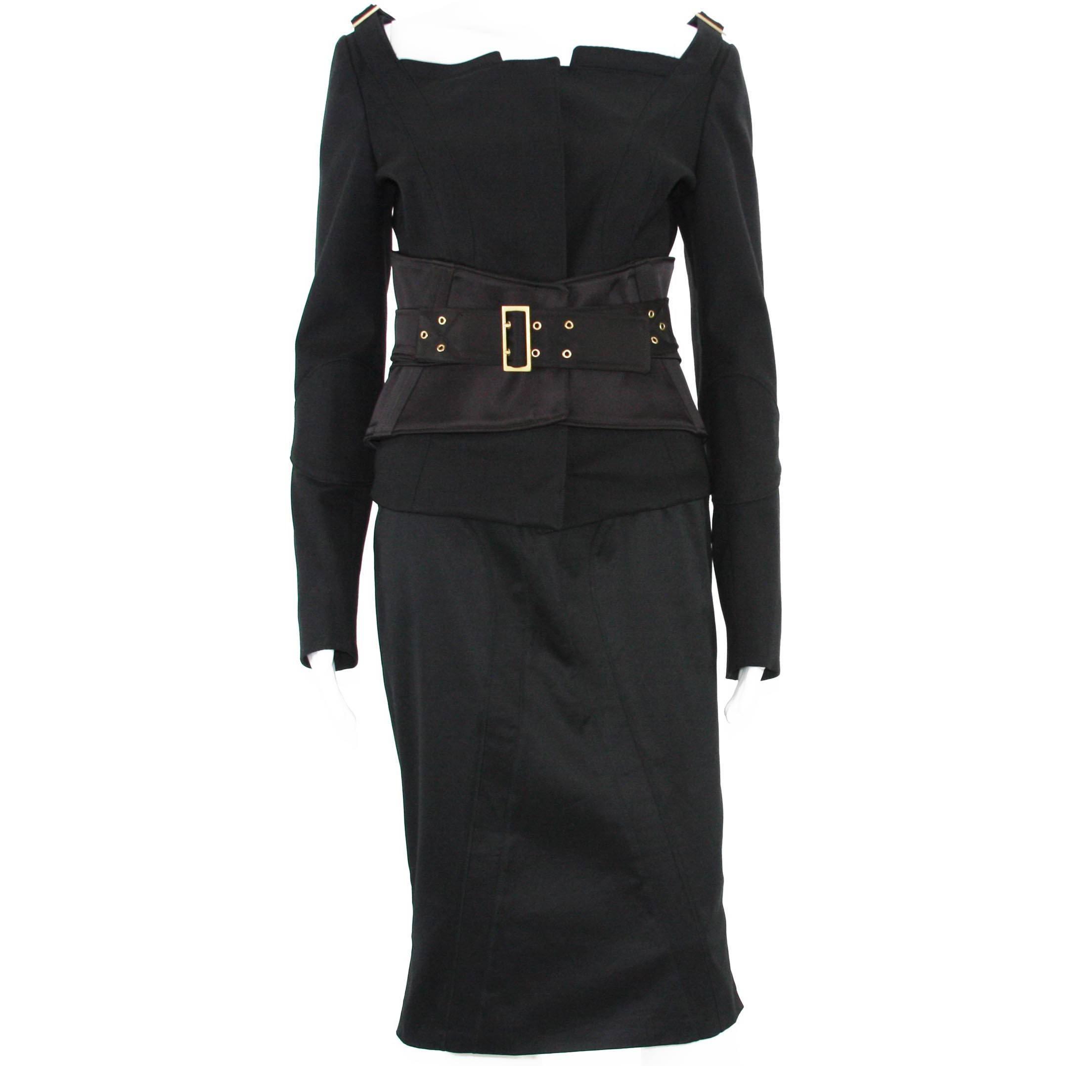 TOM FORD for GUCCI F/W 2003 Black Jacket + Skirt + Belt SUIT It. 44 - US 8