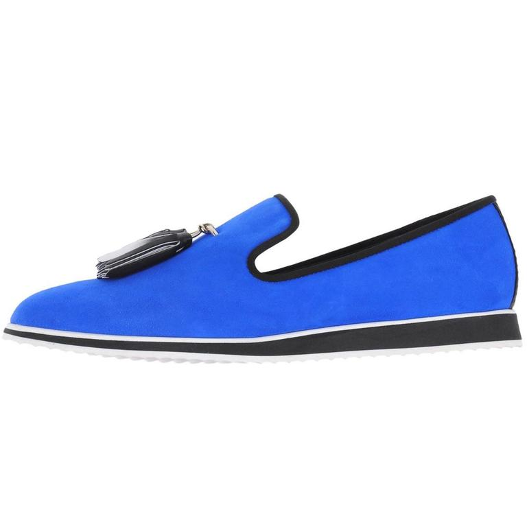 Giuseppe Zanotti Men's New Blue Suede Loafers Smoking Slippers in Box For Sale