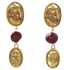 Chanel Vintage '87 Goldtone CC & Red Gripoix Drop Clip-On Earrings