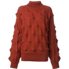 70's ISSEY MIYAKE Roll neck 3D knit sweater