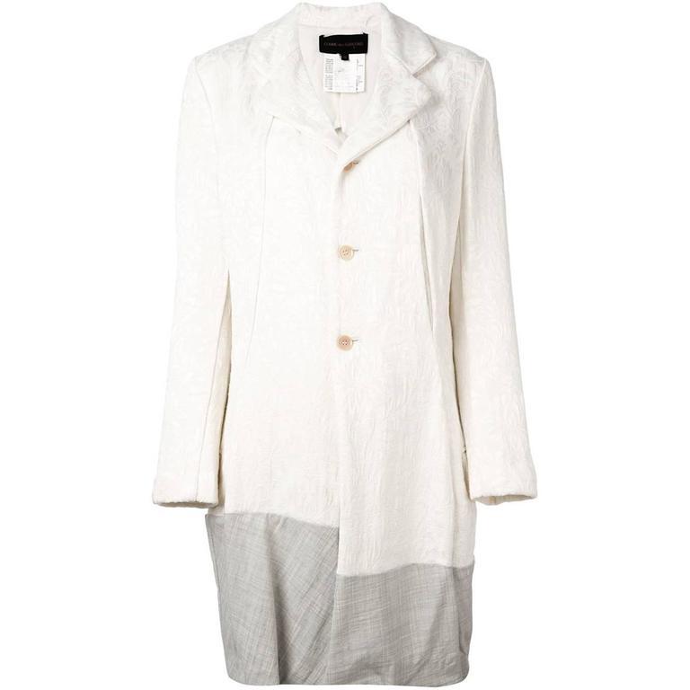 1993  COMME DES GARÇONS Contrast hem jacquard coat For Sale