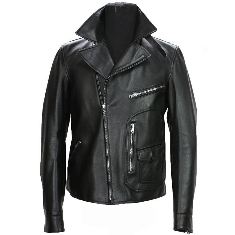 2ffcfcf5a New GUCCI Men's Black Leather Moto Biker Jacket It. 52 - US 42