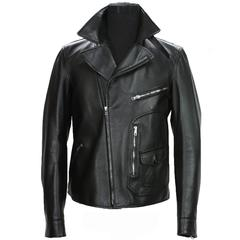 New GUCCI Men's Black Leather Moto Biker Jacket It.50, 52 - US 40,42