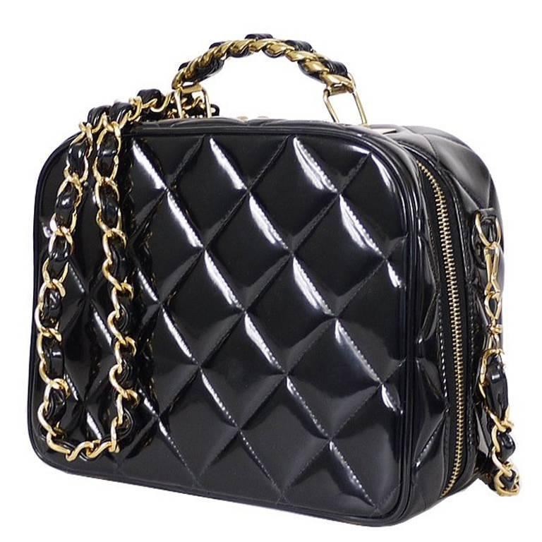 Chanel Black Patent 2way Lunch Box Crossbody Bag Rare For Sale