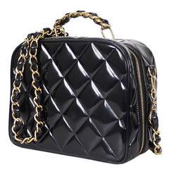 Chanel Black Patent 2way Lunch Box Crossbody Bag Rare
