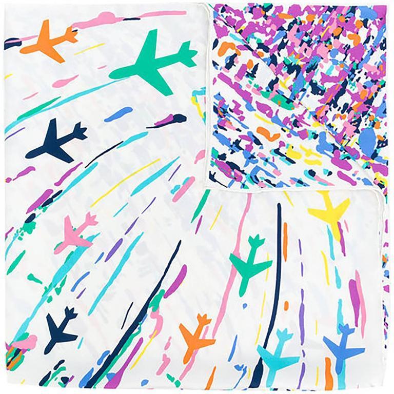 chanel cream multicolour scarf 1