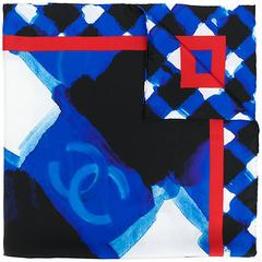 Chanel abstract electric blue scarf