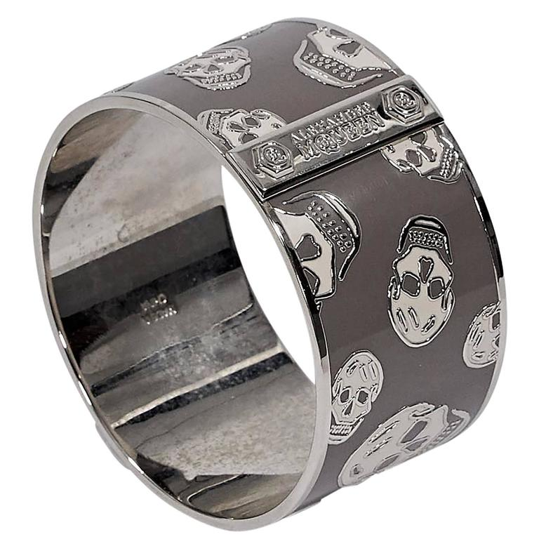 Grey & Silver Alexander McQueen Skull Bangle 1