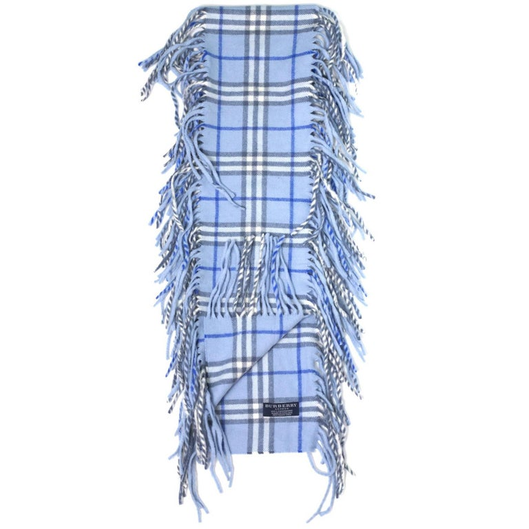 Burberry Blue Cashmere Nova Check Happy Scarf 1