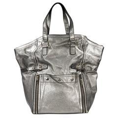 Metallic Silver Yves Saint Laurent Downtown Bag