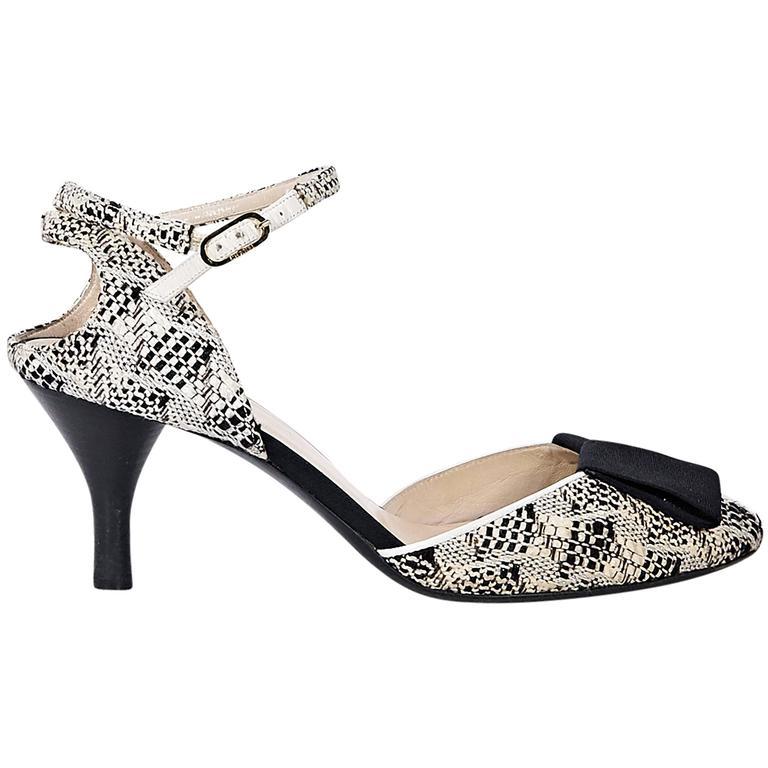 Tan & Black Chanel Boucle Kitten Heel 1