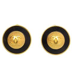 Chanel Black and Goldtone Clip-On Earrings