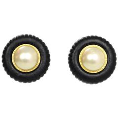 Chanel Black and Pearl Clip-On Earrings