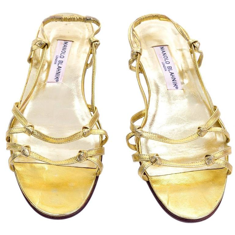 Unworn Vintage Gold Leather Manolo Blahnik Sandals Size 9 Shoes
