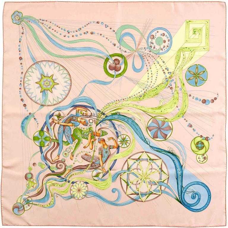 Pristine Hermes Silk Scarf 'La Danse du Cosmos' By Zoe  Pauwels - Original Box 1