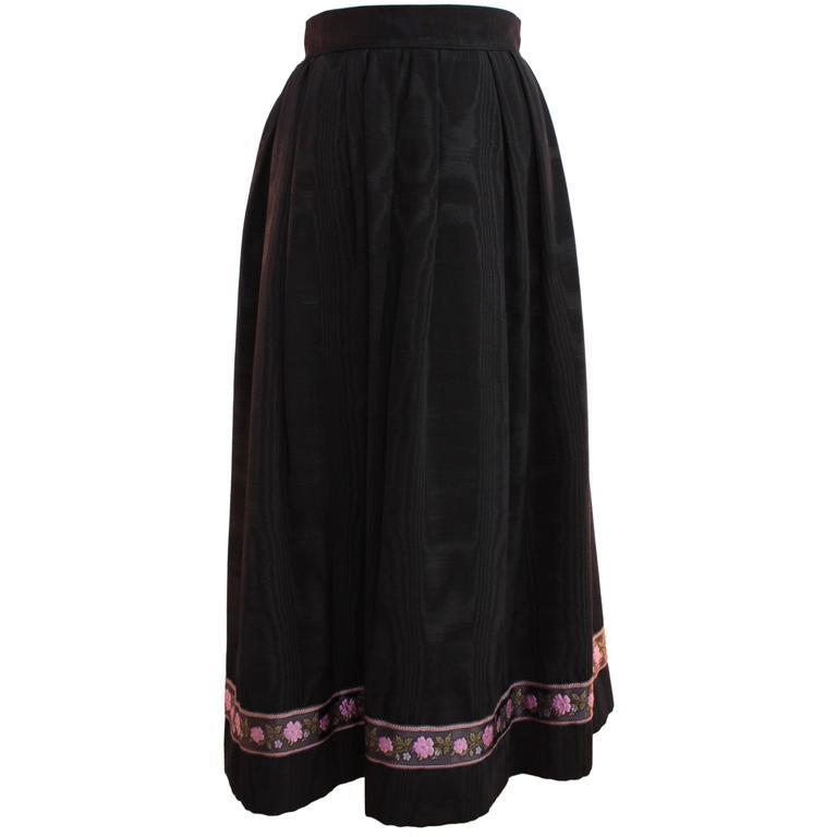 70s Yves Saint Laurent Silk Skirt Black Moire Embroidered Hem Russian Peasant 38 1