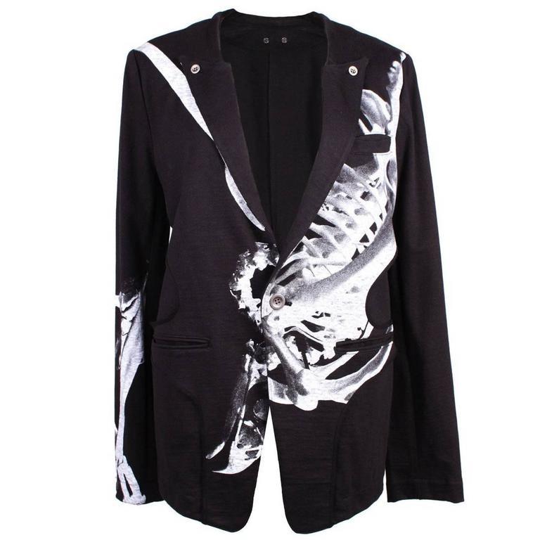 Yohji Yamamoto Y's Red Label Black Cotton Skeleton Print Jacket