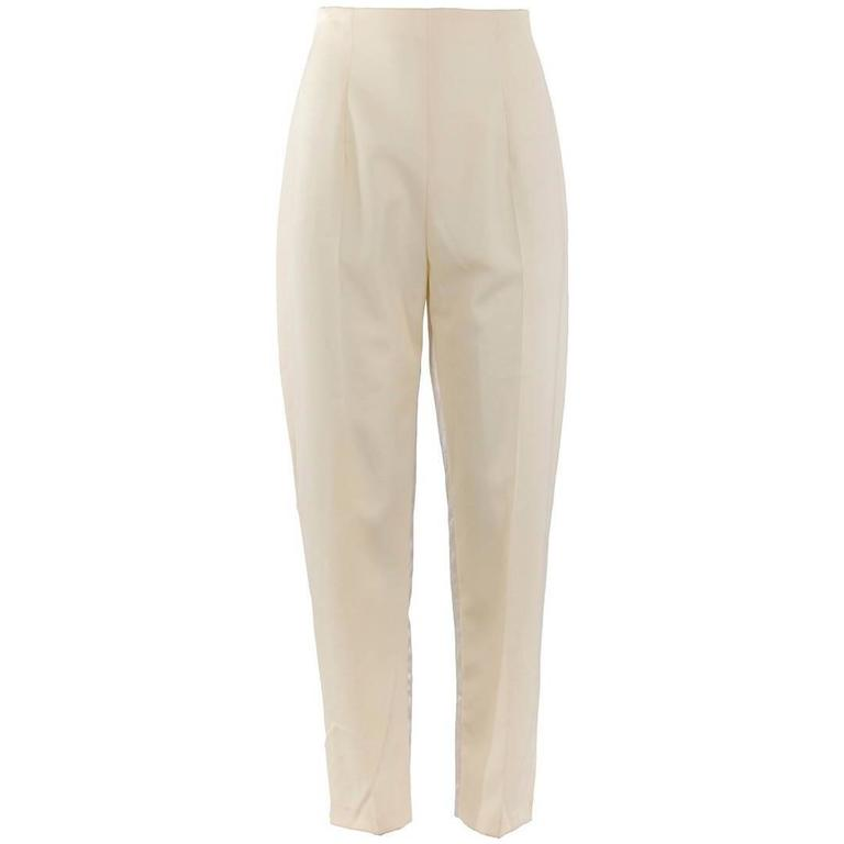1980's Made in England John Galliano Cream Tapered Trousers