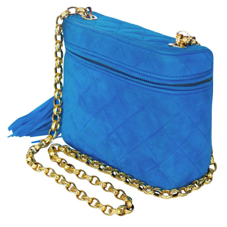 Limited Chanel Blue Suede Shoulder Bag w/ Tassel Zipper