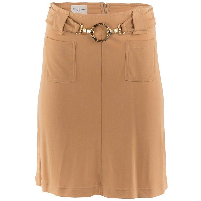 1980's Paco Rabanne Beige Stretch Belted Skirt For Sale