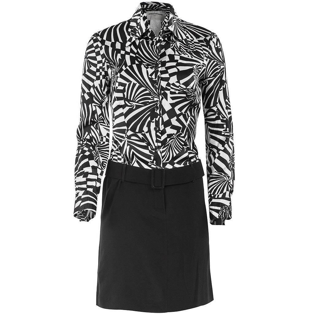 1980's Paco Rabanne Black and White Psychedelic Print Shirt Dress