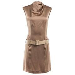 1980's Paco Rabanne Gold Silk Mock Neck Belted Mini Dress