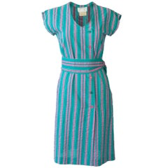 "Courrèges ""Hyberbole"" 1980's Stripe Shift Dress With Matching Belt"
