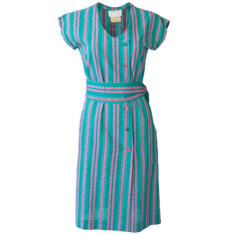 "Courrèges ""Hyberbole"" 1980's Stripe Shift Dress With Matching Belt"