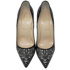Christian Louboutin So Pretty Patent Glitter Suede Silver Pump Heels Size 42