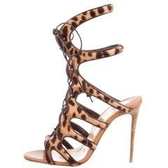 Christian Louboutin New Sold Out Pony Leopard Tie Up Heels Sandals in Box
