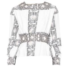Very Unique Late 1960s Crystal Embellished Donald Brooks Blouse