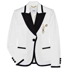 New $1720 MOSCHINO White Navy Crystals Pearl Embellished Blazer Jacket It. 44