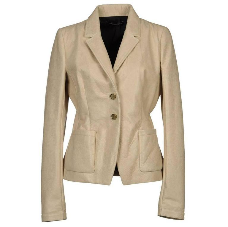 New $2150 BALENCIAGA 100% Lambskin Leather Jacket Blazer Beige It 42 - US 4/6